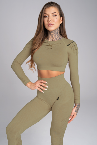 Gym Glamour Crop-Top Combat Khaki