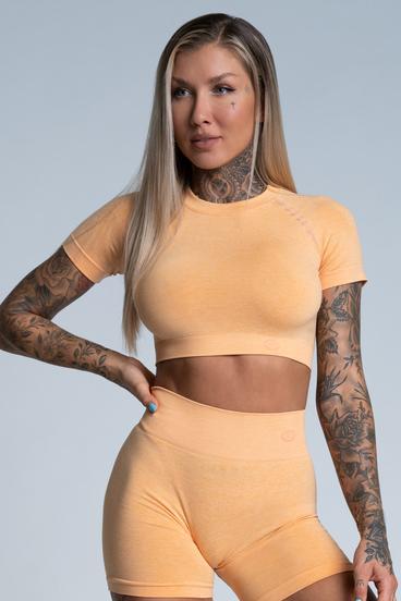 Gym Glamour short sleeve Crop-Top Peach