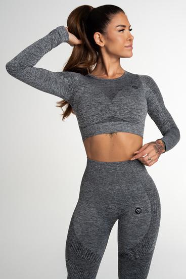 Gym Glamour Crop Top Seamless Fusion Dark Grey