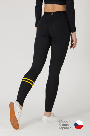 GoldBee Leggings BeStripe Down Black&Yellow