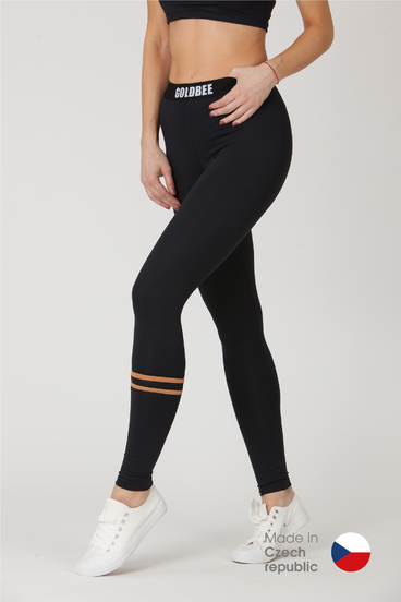 GoldBee Leggings BeStripe Down Black&Latté
