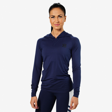 Better Bodies T-shirt Performance Long Sleeve Hood Dark Navy