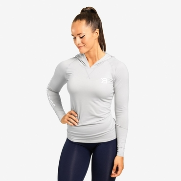 Better Bodies T-shirt Performance Long Sleeve Hood Frost Grey