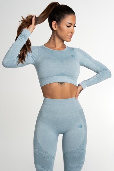 Gym Glamour Crop Top Seamless Fusion Blue