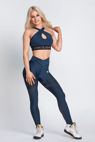 Gym Glamour Leggings Midnight Navy Mesh