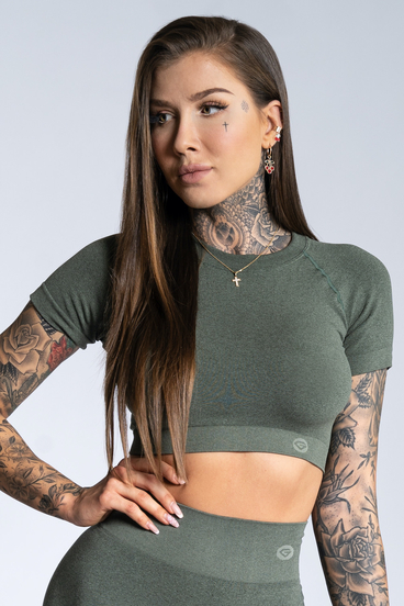 Gym Glamour short sleeve Crop-Top Khaki Ombre