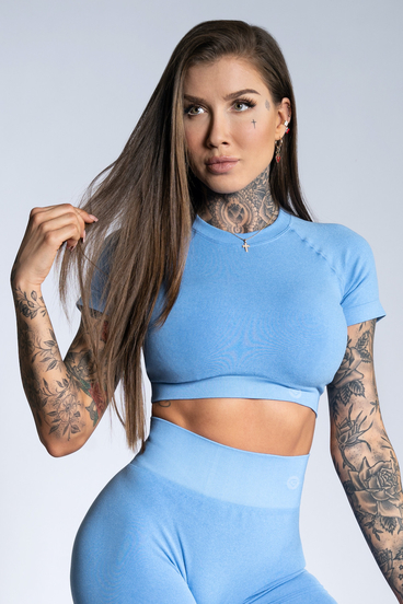 Gym Glamour short sleeve Crop-Top Blue Ombre