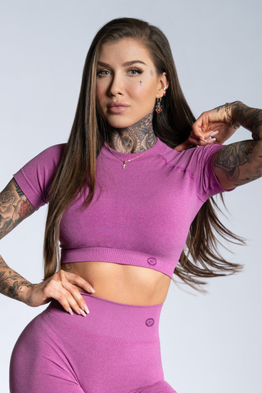 Gym Glamour short sleeve Crop-Top Pink Ombre