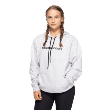 Better Bodies Logo Hoodie Light Grey Melange