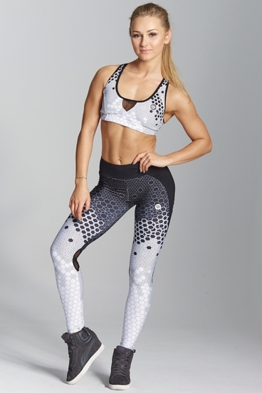 Gym Glamour Laggings White Honey Combs