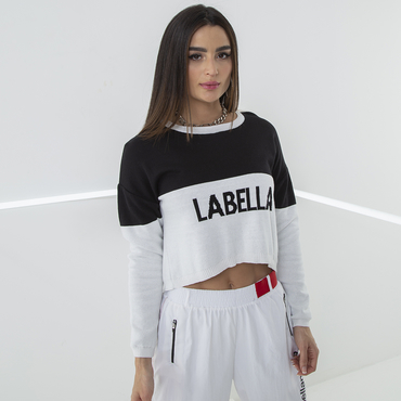 Labella Crop-top Sweatshirt Black/White