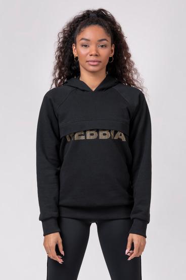 """Nebbia Long Hoodie 825 """"Intense Focus"""" Black"""