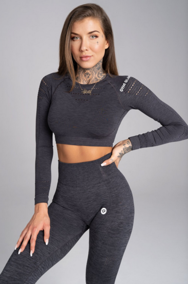 Gym Glamour Crop-Top Grey Melange