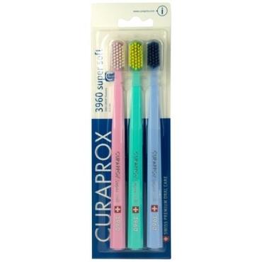 Curaprox Sada Kartáčků 3960 Super Soft Růžový, Tyrkysový, Světle Modrý