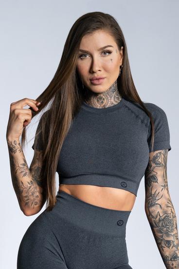 Gym Glamour short sleeve Crop-Top Dark grey ombre