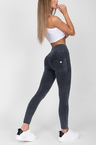 Hugz Grey High Waist Denim Dark Stitch
