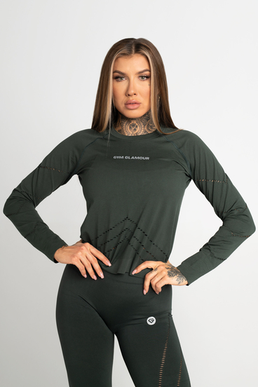 Gym Glamour Top Long Sleeve Deep Forest