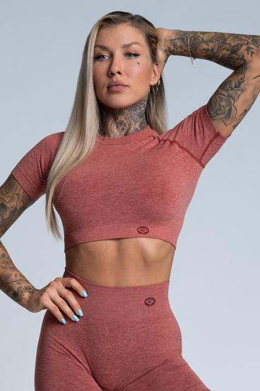 Gym Glamour short sleeve Crop-Top Cherry