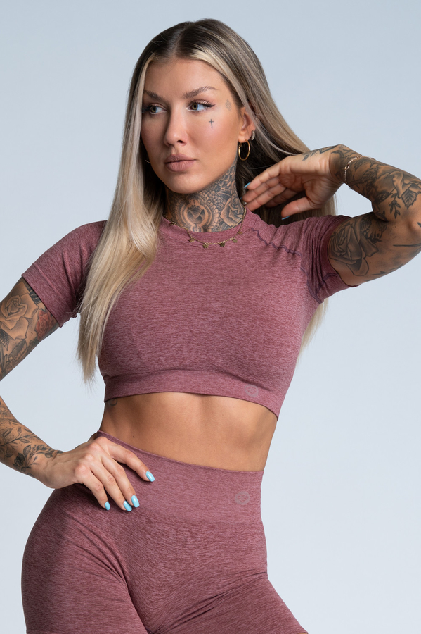 Gym Glamour short sleeve Crop-Top Rose Taupe, M - 1