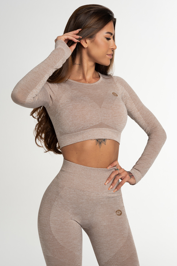 Gym Glamour Crop Top Seamless Fusion Beige, M - 1