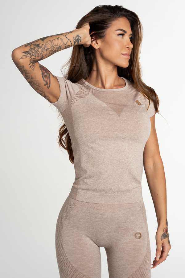 Gym Glamour T-Shirt Seamless Fusion Beige, L - 1