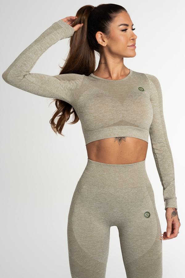 Gym Glamour Crop Top Seamless Fusion Khaki, M - 1