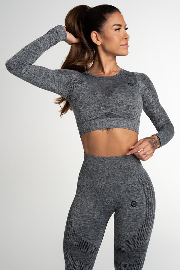 Gym Glamour Crop Top Seamless Fusion Dark Grey, L - 1