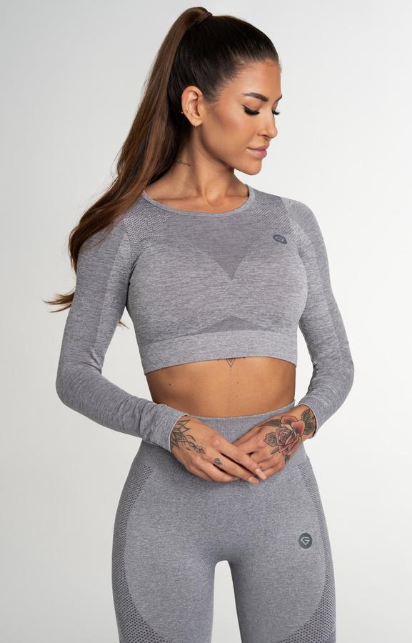Gym Glamour Crop Top Seamless Fusion Light Grey, S - 1