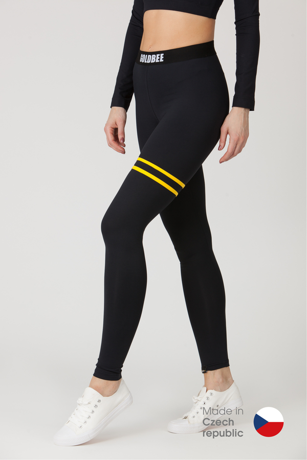 GoldBee Legíny BeStripe Up Black&Yellow - S, S - 1