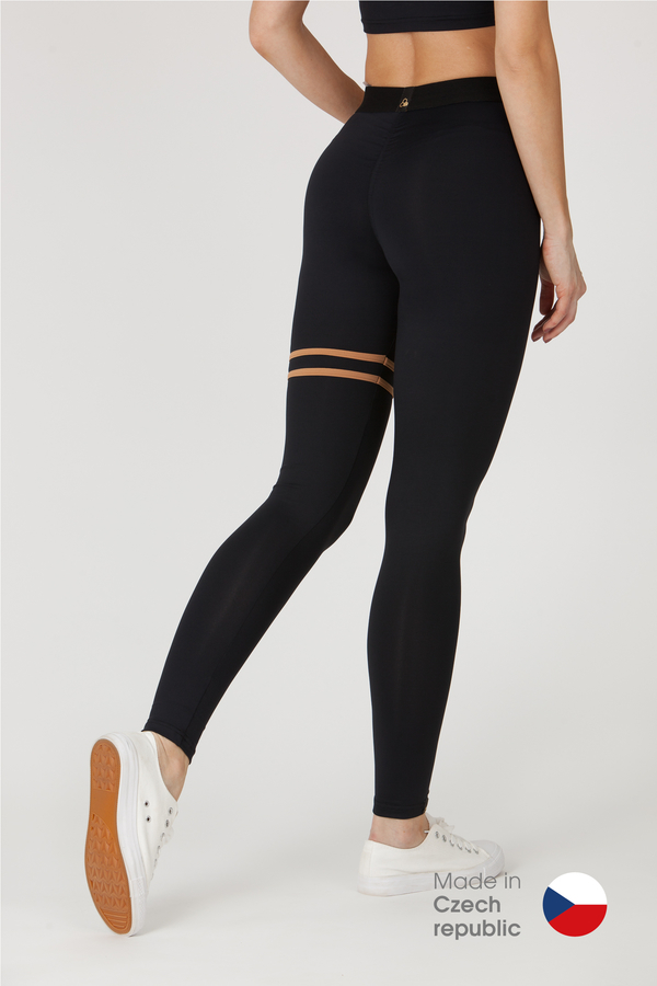 GoldBee Legíny BeStripe Up Black&Latté - XS, XS - 1
