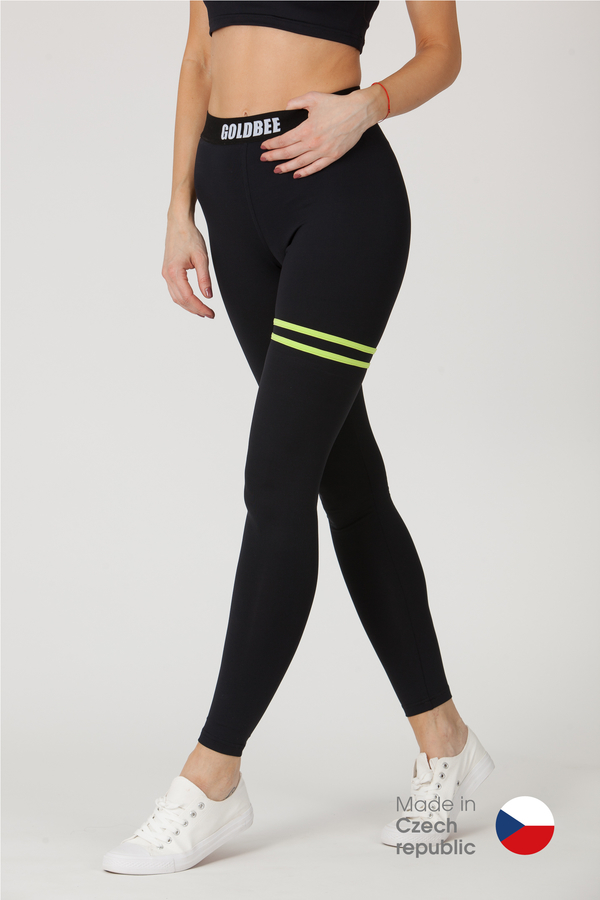 GoldBee Legíny BeStripe Up Black&Lime - S, S - 1
