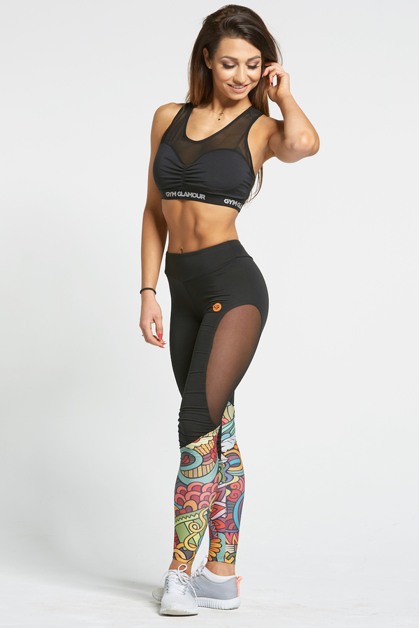 Gym Glamour Legíny Black&Colorful Love - L, L - 1