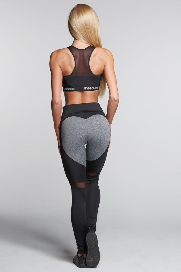 Gym Glamour Legíny Black And Grey Heart - S, S - 1