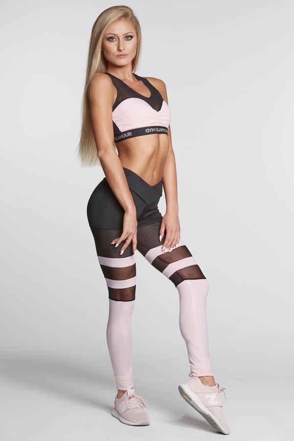 Gym Glamour Legíny Mesh And Pink Socks - XS, XS - 1
