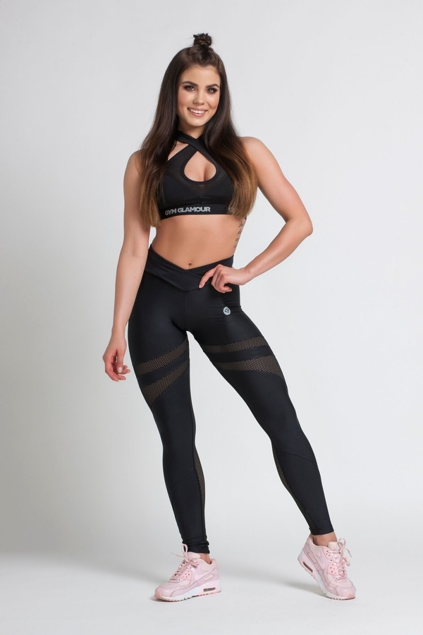 Gym Glamour Legíny Black Mesh - M, M - 1