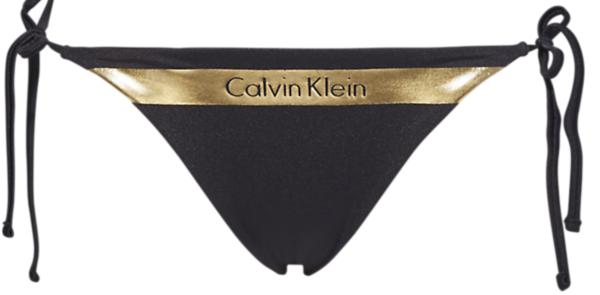 Calvin Klein Plavky Cheeky String Side Black&Gold Spodní Díl - XS, XS - 1