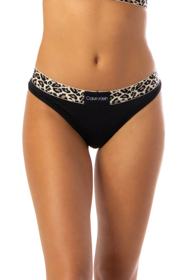 Calvin Klein Tanga Leopard Černé - S, S - 1