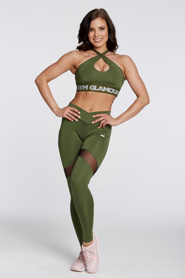 Gym Glamour Legíny Khaki Heart - S, S - 1