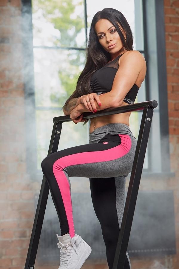 Gym Glamour Legíny S Pink Fluo Pruhem - M, M - 1