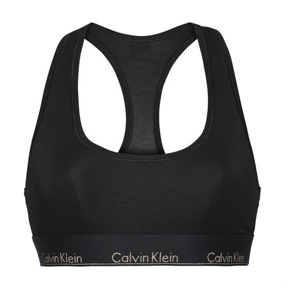 Calvin Klein Podprsenka Cotton All Black Gold Logo - M, M