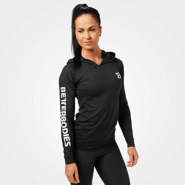 Better Bodies T-shirt Performance Long Sleeve Hood Black - 1