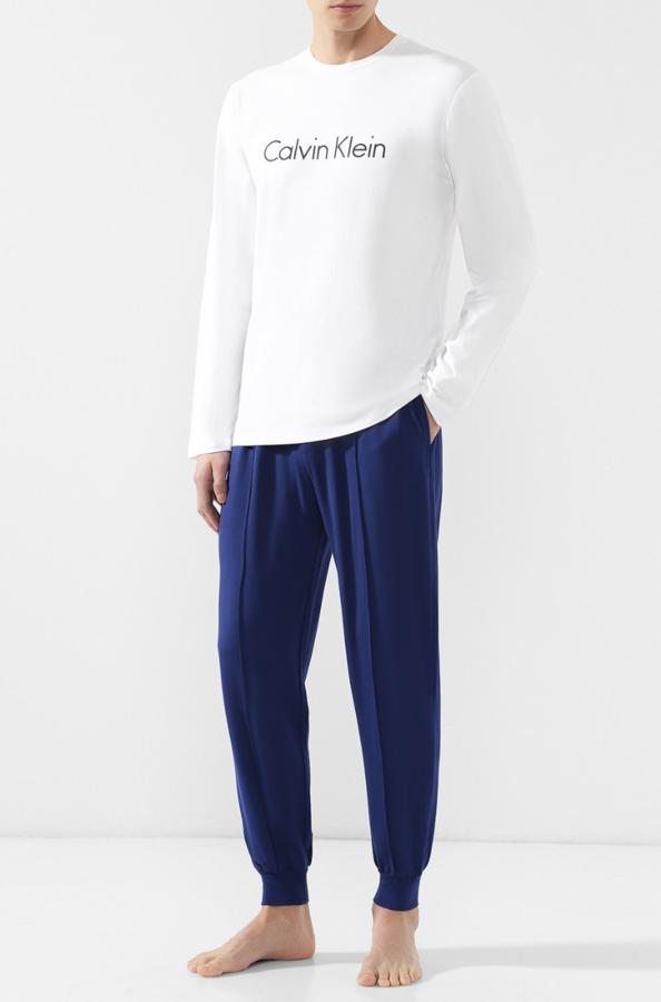 Calvin Klein Pánské Tepláky Modré Se Švy - 1