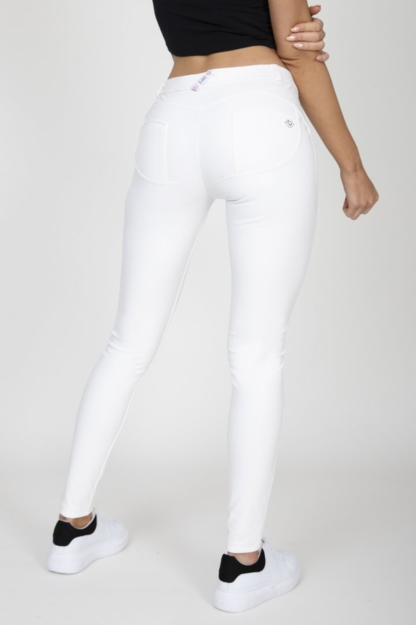 Hugz White Faux Leather Mid Waist - M, M - 1