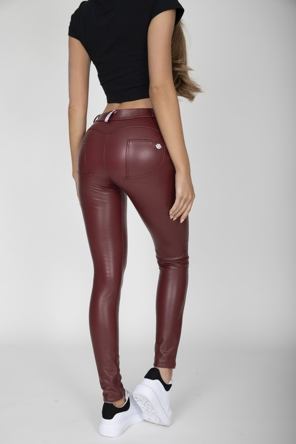 Hugz Wine Faux Leather Mid Waist - S, S - 1