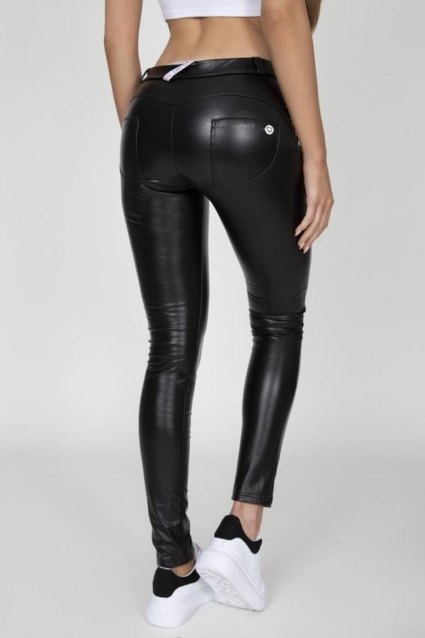 Hugz Black Faux Leather Mid Waist - M, M - 1