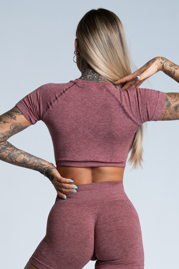 Gym Glamour short sleeve Crop-Top Rose Taupe, M - 2