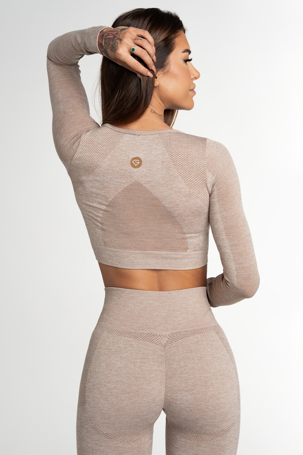 Gym Glamour Crop Top Seamless Fusion Beige, M - 2