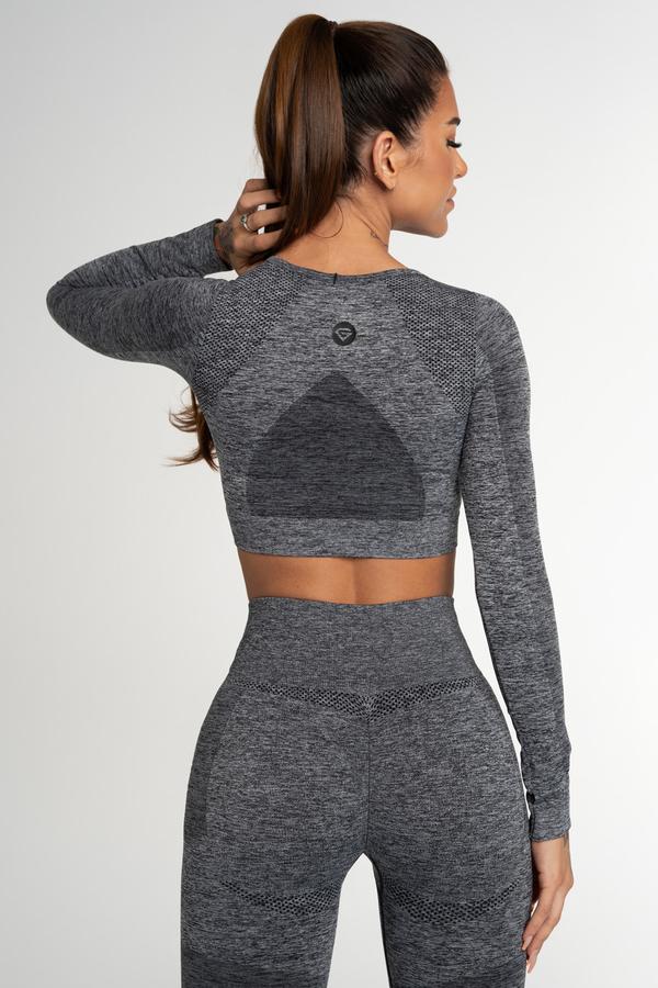 Gym Glamour Crop Top Seamless Fusion Dark Grey, L - 2