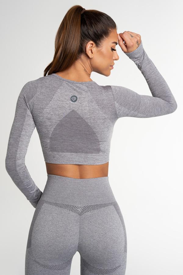 Gym Glamour Crop Top Seamless Fusion Light Grey, S - 2