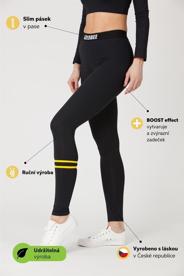 GoldBee Leggings BeStripe Down Black&Yellow, M - 2